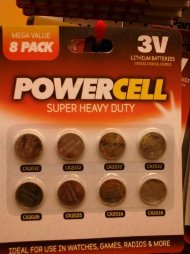 8 x Lithium Batteries - CR2016 / CR2025 / CR2032 - £1 @ Poundworld