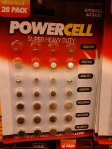 28 Watch Type Lithium Batteries AG1, AG3, AG4, AG5, AG10, AG12, AG13 - £1 @ Poundworld