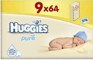 Huggies Pure Baby Wipes Pack of 9 packs - 64 per pack £7.43 at Tesco