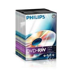 Philips Blank DVD-RW Rewritable Disc 4.7GB 120 Minutes Video - 10 Pack - £4.99 Delivered @ Play