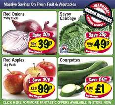 Lidl - Red Onions 750g 39p/ Savoy Cabbage 49p/ Red Apples 1kg 99p/ Courgettes £1per kg