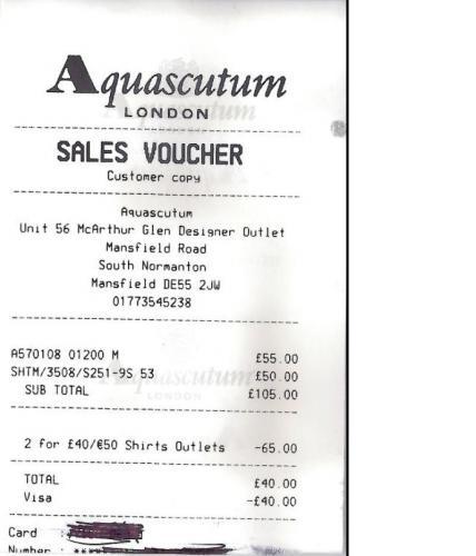 2 Aquascutum Shirts For £40 @ Aquascutum (East Midlands Outlet Store)