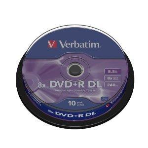 Verbatim 43666 DVD+R, 8x, 8.5GB, Dual Layer - 10 Pack - £7.99 @ Amazon