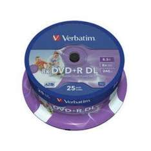Verbatim 43667 DVD+R, 8x, 8.5GB, Dual Layer Print - 25 Pack - Was £43.38 Now £19.99 @ Amazon