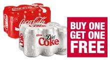 Coca-Cola or Diet Coke 12 cans £3.35 at Co-op.