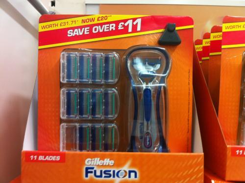 Gillette Fusion razor and 11 blades £20 @ sainsburys