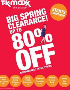Big Spring Clearance Now On Upto 80% off @ TK Maxx