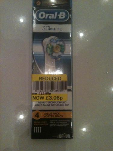 Oral B 3D White Refills x 4  £3.06 @ Tesco