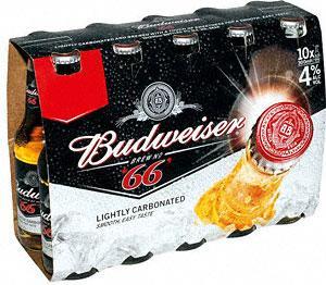 Budweiser 66 (10 x 300ml bottles) £6 at Co-op