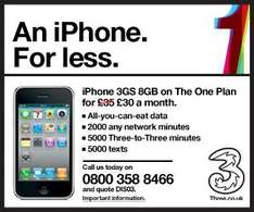 iPhone 3GS 8GB - 2000 Mins, 5000 3-3 Mins, 5000 Txts, All-You-Can-Eat Data - £30 Per Month @ 3 Mobile