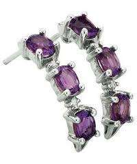 9ct White Gold Amethyst and Diamond Half Hoop Earrings - Was £64.99 Now £21.99 @ Argos