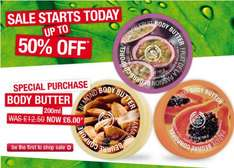 Body Shop 25% off plus works with 50% off sale  eg. 200ml body butter £4.50 & Shower Gel £1.50