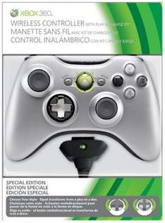 Xbox 360 Wireless Silver Controller With Play & Charge Kit - £29.86 @ Shopto