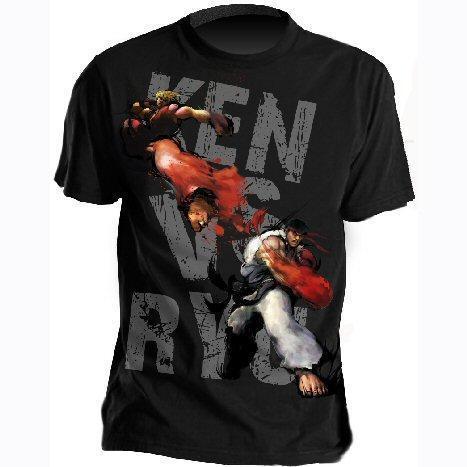 Street Fighter Mens Ken vs Ryu (Black - T-Shirt) - £4.99 Delivered @ Play