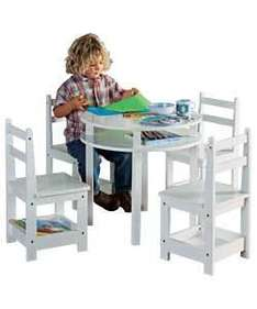 Childrens Round Table & 4 Chairs - White - £29.98 Delivered @ Ebay Argos Outlet