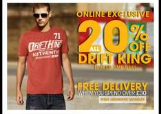 20% off Drift Clothing & Free Delivery Over £30 @ Burton