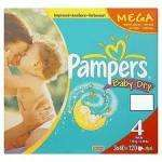 Pampers Baby Dry Mega box Size 4 (120) and others £12 @ Asda