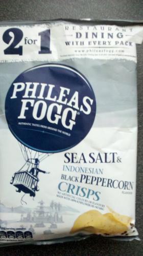 Phileas Fogg Indonesian Black Peppercorn Crisps 140g BOGOF at Poundland PLUS 2 for 1 dining voucher on each pack