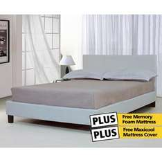 Valencia Faux Leather Bed + FREE Memory Foam Mattress + FREE Maxi cool luxury cover only £199.00 @ TJ Hughes