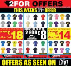 Amazing Bargains On T-Shirts - 2 For £18 / 2 For £10 + Others @ Sports Direct