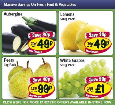 Lidl - Aubergine 49p/ Lemons 500g 49p/ Pears 1kg 99p/ White Grapes 500g £1