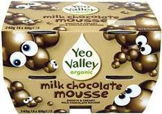 Yeo Valley Organic Milk Chocolate Mousse (4x60g) £1.50 each now 3 for £3 @ Asda