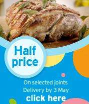 Half price on Selected Roasting Joints, loin steaks, sausages, parma ham, salmon, prawns @ Sainsbury's from tomorrow