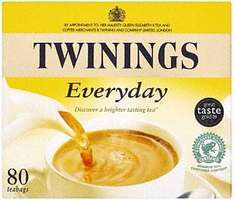 Twinings Everyday Tea 80 Tea bags (250g) was £2.77 now 2 for £3.00 @ Asda