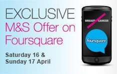 Check in on Foursquare At An Marks & Spencer Store This Weekend (16th-17th April) & Get £5 off £30 Spend On Clothing