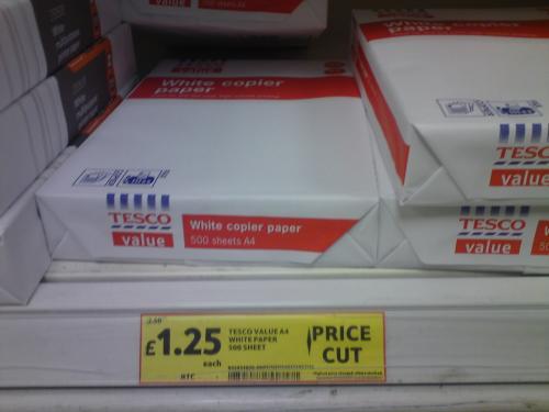 White Value Copier Paper - £1.25 a ream (500 sheets) @ Tesco