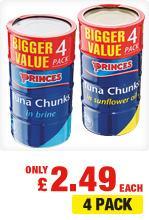 4 x Princes Tuna Chunks in Brine/Oil -  £ 2.49 @ Netto