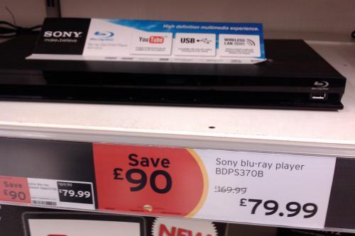 Sony BDP-S370B Blu-ray Player - £79.99 @ Sainsburys (Instore)