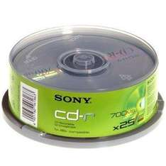 Sony CDR 80min/700Mb CD-R Spindle 25 - £2.98 Delivered @ Amazon