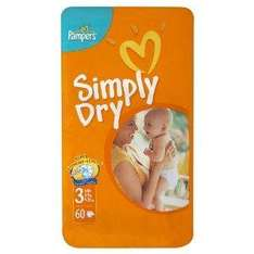 Pampers Simply Dry size 3 Midi Nappies 2 x pack of 60 (120 Nappies) £10.80 @ Amazon