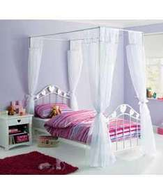 White Hearts Single 4 Poster Metal Bed Frame - was £132.99 now £66.49 @ Argos