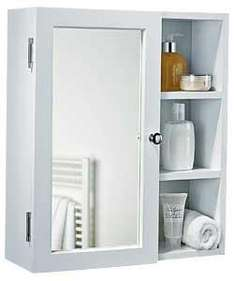 White - Single Mirror Bathroom Cabinet with Open Shelves was £27.99 now £13.99 @ Argos
