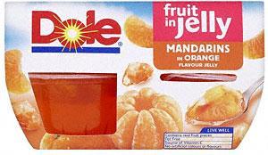 Dole Fruit Gel Bowls Mandarins in Orange Flavour Jelly (4x113g) was £2.23 now £1.11 @ Sainsburys