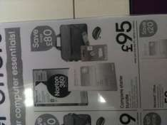 Office 2010, Norton 360 Gold 3 User, Laptop Bag, Mouse and 4GB Memory Stick - £95 @ Currys & PC World