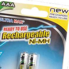 2 Ultra Max Rechargeable AAA Batteries £1 instore @ Poundland