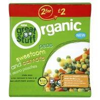 ASDA Great Stuff Organic Peas, Sweetcorn and Carrots Frozen Veg x4 rollback to 58p
