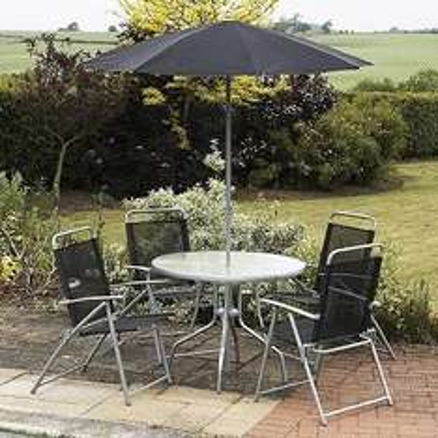 6 Piece Metal Garden Furniture Set - Black & Silver - £62.73 @ Dealtastic