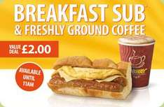 "6"" Breakfast Sub & Freshly Ground Coffee - £2 (before 11am) @ Subway"