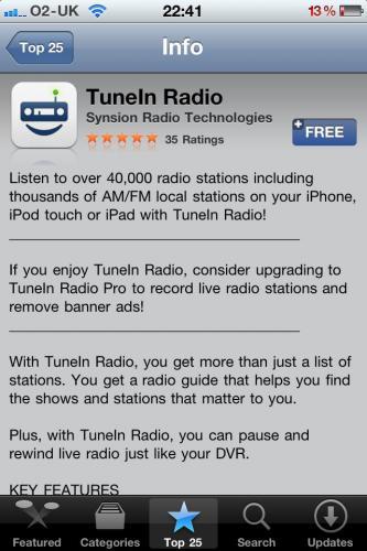 Free TuneIn Radio @ iTunes