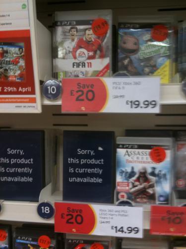 FIFA 2011 (PS3) - £19.99 @ Sainsburys (Instore) (Harlow)