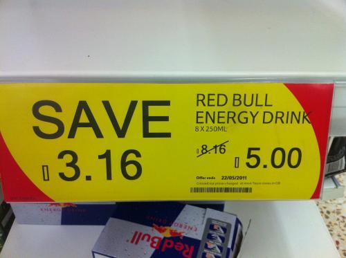 8 cans of RedBull for £5 instore @ tesco