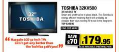 """Toshiba 32KV500 - 32"""" LCD TV HD Ready Freeview - voucher price £179.95 (£197.95 with 5 Year Warranty) @ Richer Sounds"""