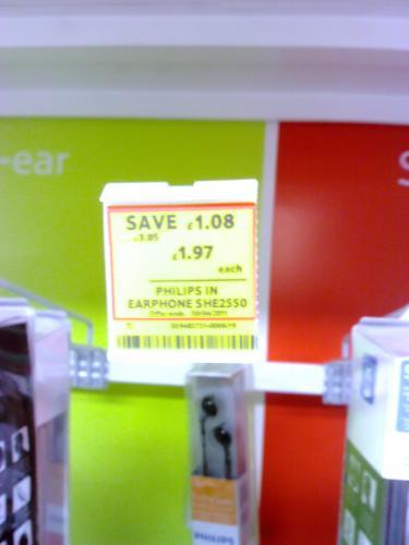 Philips SHE2550 In-Earphones - was £6 now £1.97 @ Tesco (Instore)