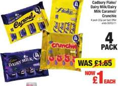4 pack caburys flake, dairy milk, crunchie and caramel £1 @ Netto from monday