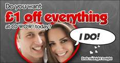 £1 off Everything @ CD Wow (One Day Only)