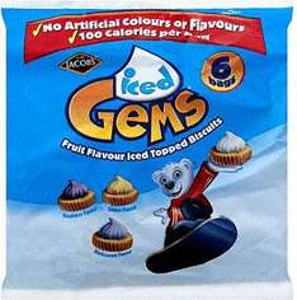 Jacob's Iced Gems or Chocolate Gems 6 x 25g bag packs £1 at Tesco